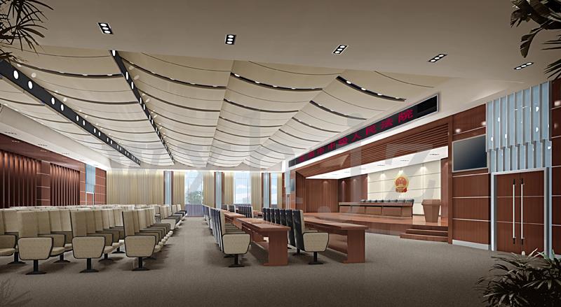 二、大审判庭:东墙装13.8米×3米的按最高人民法院统一设计的大背景墙一面、装2.5米×4米全色电子显示屏一面并配微机一台,主席台高0.45米,长12.3米,宽5米,材质为木工板,复合木地板浅胡桃色;六个柱子90公分以下装花岗岩,90公分以上装铝塑板;墙面为铝塑板,其中墙裙为浅胡桃色铝塑板;铝塑板吊顶(要有新颖造型);灯具控制在7万元以内;装音响设施及音响间,整个装修风格要体现审判、会议、娱乐三大功能。所有吊顶以下管线一律要装饰处理。装修费用控制在60.