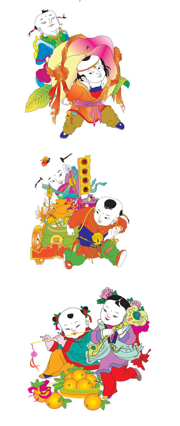 """征集传统年画中""""送福童子""""形象图片素材(投票处理:vis"""