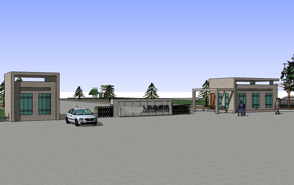 单位:检察院; 一张是效果图,一张是正在施工的实体图,大门宽度30米,纵深38米; 周围用栅栏围起来,正面是大门,旁边要有一个控申接待办公室,一个值班室,大门设计要求气派、庄严,要与大楼整体风格相符; 大门后面是一个水池,旁边是绿化带, 效果图要有设计说明,包含相关尺寸、用材、设计思路等。
